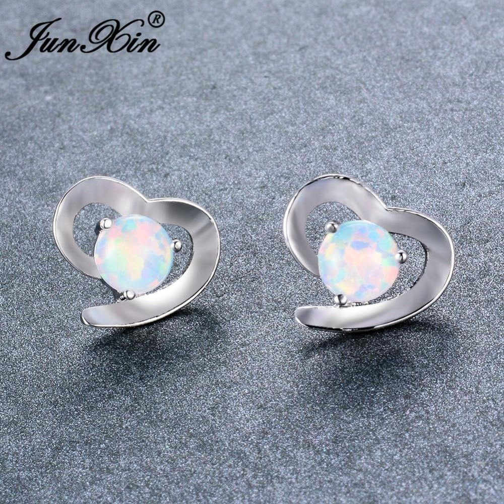JUNXIN Dainty Heart Stud Earrings Round White/Blue Fire Opal Earrings For Women Silver Color Wedding Ear Studs