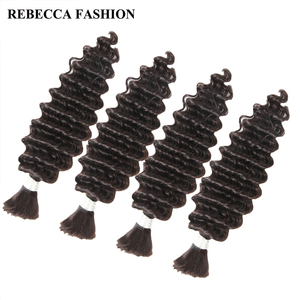 Image 4 - Rebecca 4 Bundles Deals Human Braiding Hair Bulk Braiding Remy Indian Deep Wave Hair Extension Crochet Free Shipping