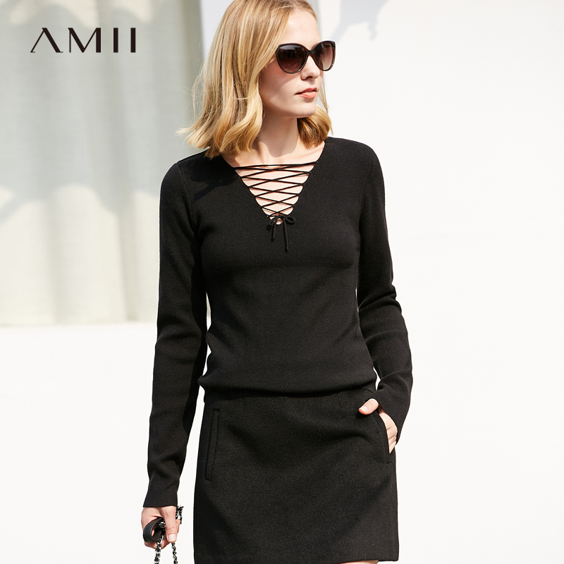Amii Minimalist Women Sweater 2018 Straps V Neck Female Pullovers Sweaters