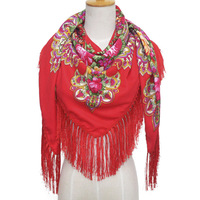135 135 Large Size Square Silk Scarf Luxury Brand Women Retro Printed Flower Shawls Autumn Winter
