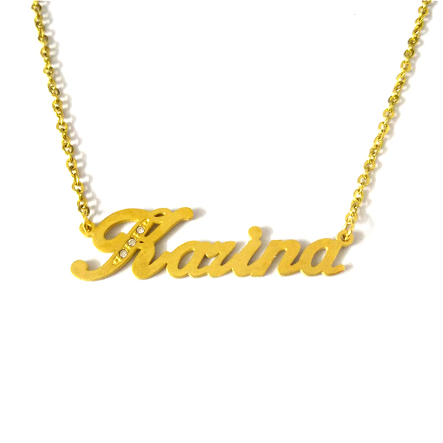 3b1c26580 FairLadyHood Name Necklace Gold Color Stainless Steel Personalized