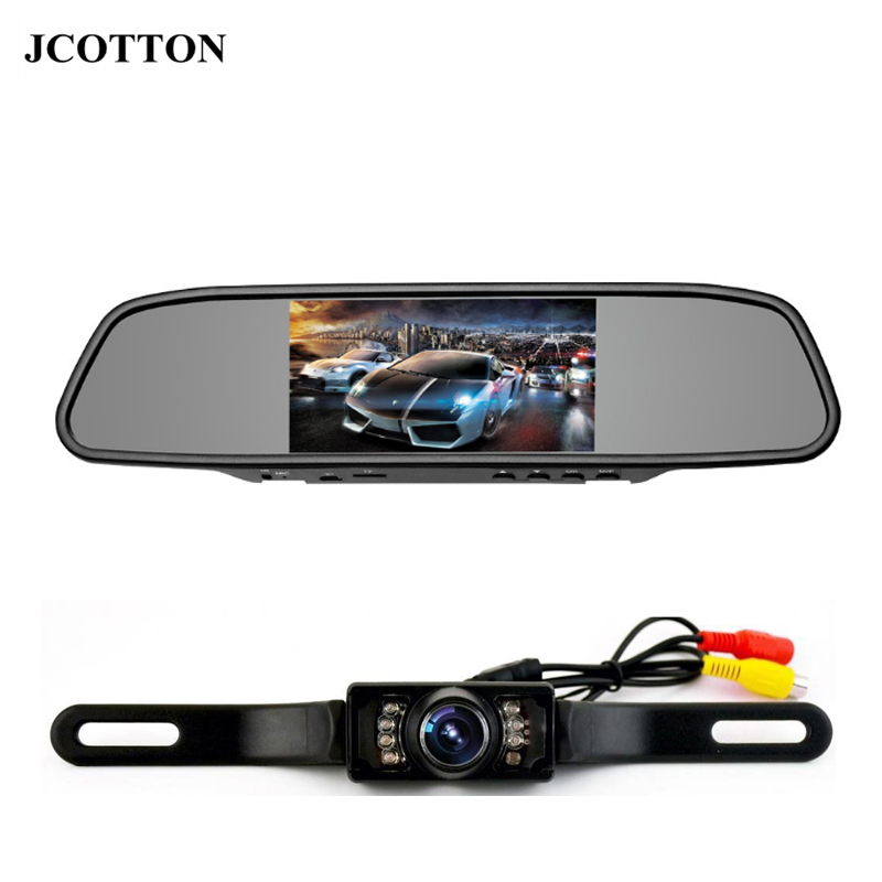 JCOTTON 4.3 Inch TFT <font><b>Car</b></font> LCD Screen Rear Monitor View Rearview DVD AV Mirror Parking System with Backup Camera License <font><b>Plate</b></font>
