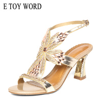 E TOY WORD 2019 Sandals Women Summer High Heels thick with women's Rhinestone Sandals Sexy Crystal Open Toe Sandals Women