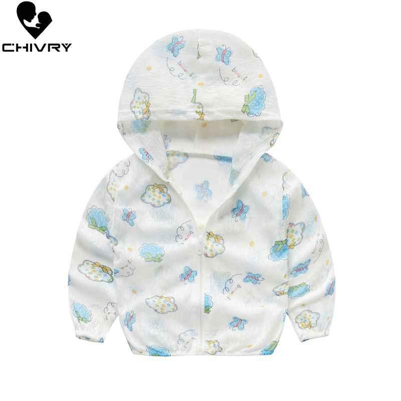 חדש 2019 ילדים ברדס בגדי הגנה מפני שמש קיץ סתיו תינוק בני בנות דק מעיל Cartoon ילדים חוף שמש מעיל להאריך ימים יותר