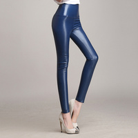 Women S Fashion Faux Leather High Waist Skinny PU Leggings Pants Candy Color Plus Size S