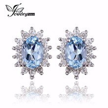 JewelryPalace Natural Topza Gemstone Earrings Stud Genuine 925 Sterling Silver Jewelry  Charm Gift For Girls Brand New Jewelry