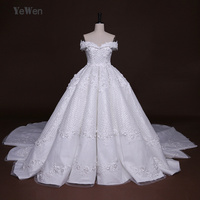 2M Cathedral Royal Train High End Luxury Wedding Dress 2018 Lace Flowers Beads Off Shoulder Ball