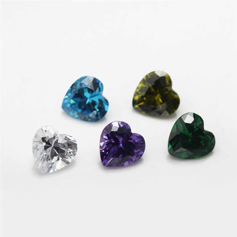 1 stücke Pro Farben Insgesamt 15 stücke Größe 4x4mm ~ 10x10mm Herz Form Lose zirkonia Stein CZ