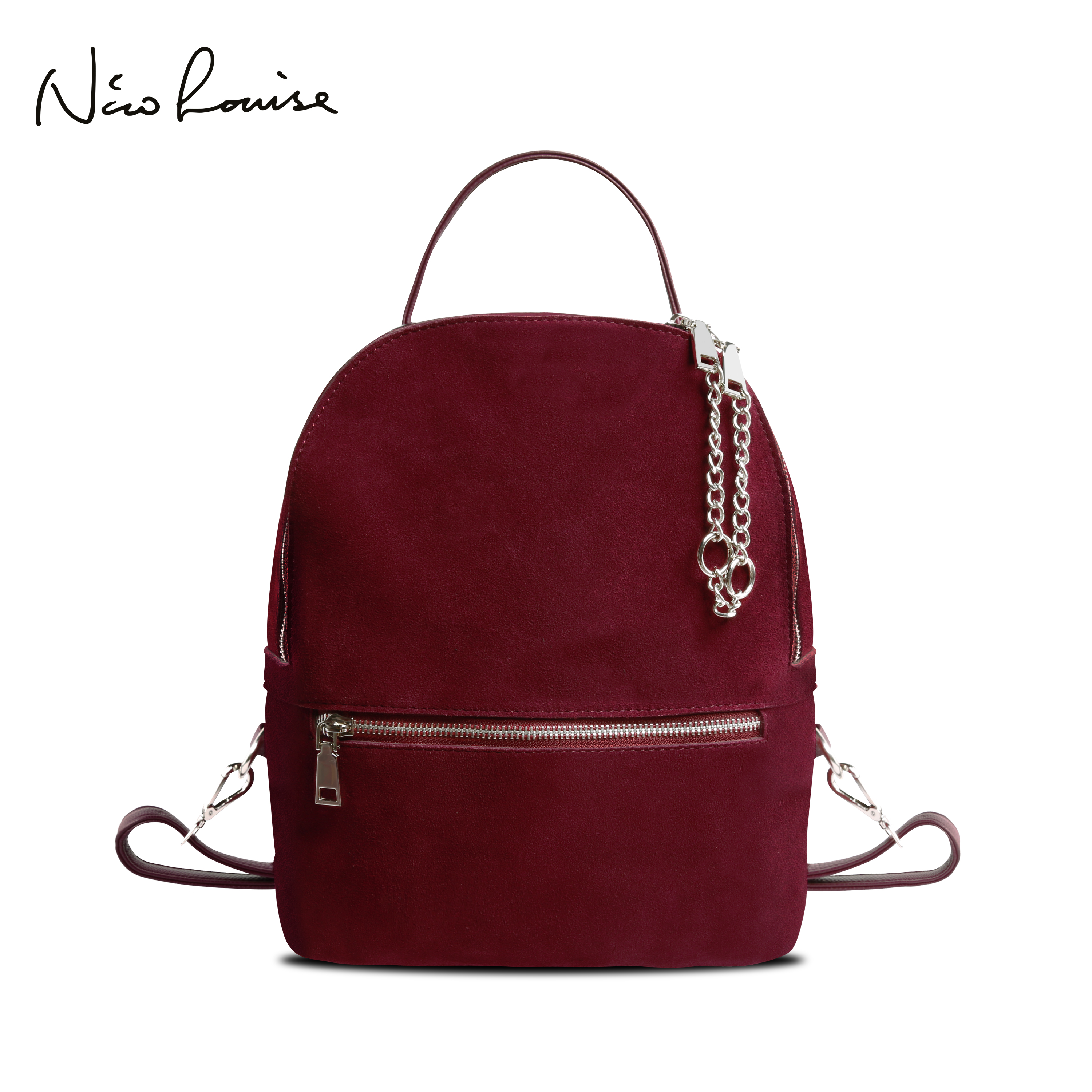 2018 Women Genuine Suede Leather Backpack Female Casual Leisure Zipper Chains Nubuck Travel School Bag Teenager Girls Mochila