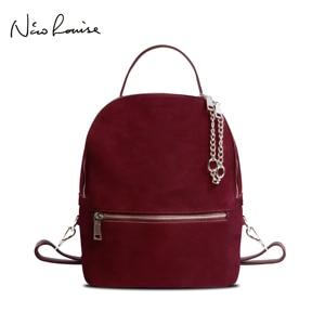 Image 1 - Women Genuine Suede Leather Backpack Female Casual Leisure Zipper Chains Nubuck Travel School Bag Teenager Girls Mochila