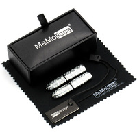 MMS White Folding Stick Cufflink Display Box Wiping Rag And Tag Gift For Men Or Groomsmen