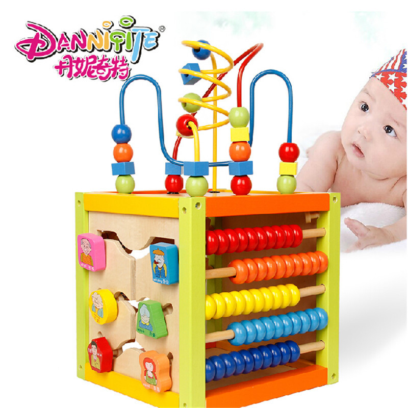 DANNIQITE Children Kids Baby Colorful Wooden Around Beads Abacus Counting Drawing Board Educational Toy Kids Gift Wood Toy