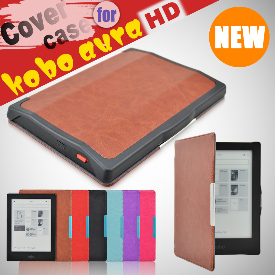 Leather Case for Kobo Aura HD Ereader E-book Cover Skin Free Shipping original new lcd screen ed068tg1 for kobo aura h2o kobo aura h20 with backlight reader e book lcd displayl free shipping