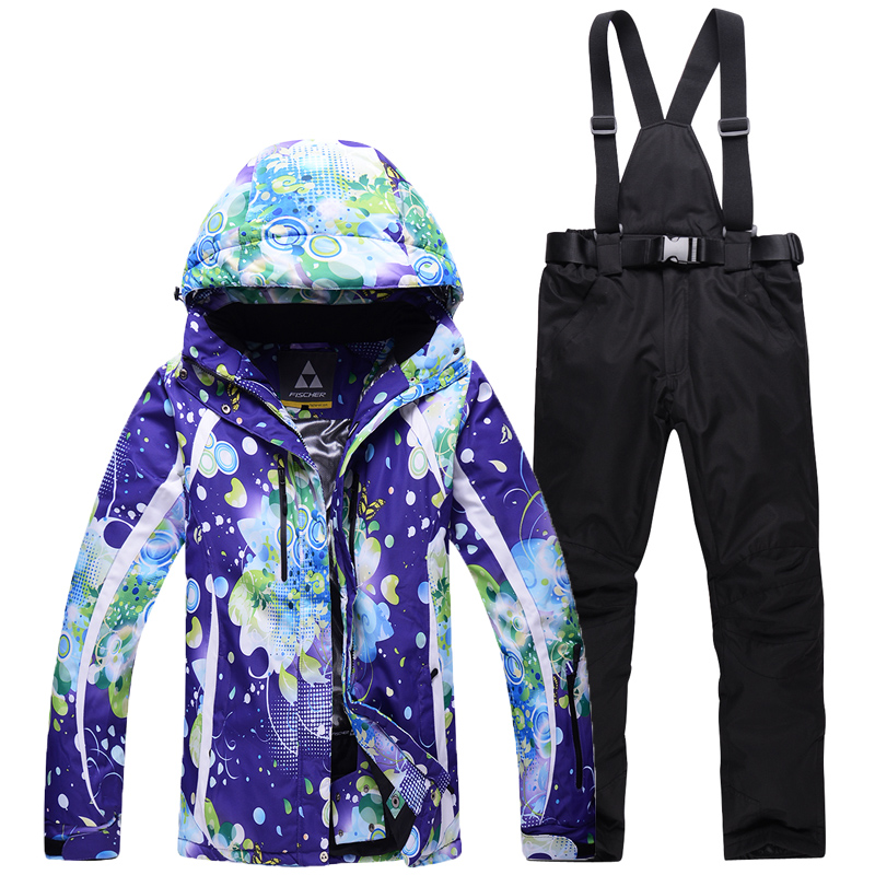 Cheap snow clothes women Ski Suit Sets Outdoor sports Costumes Waterproof Warm Snowboarding jacket + bibs pant female snow suit brand gsou snow technology fabrics women ski suit snowboarding ski jacket women skiing jacket suit jaquetas feminina girls ski