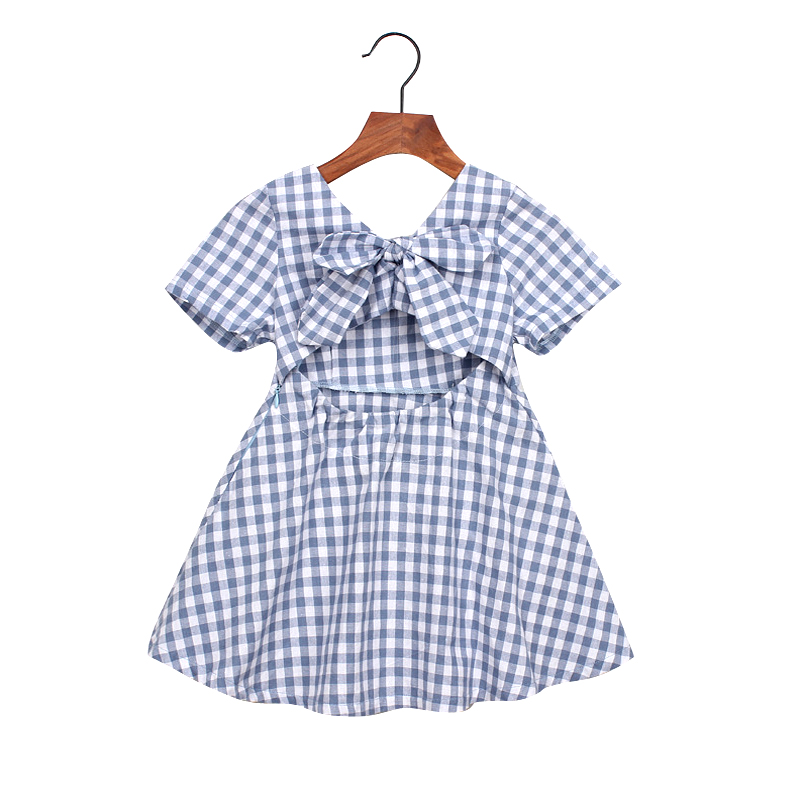Hurave 2018 New baby Girl clothes Summer short sleeve dress Kids Clothes square collar Casual plaid strapless bow dresses baby girl dress summer casual dresses 2018 kids clothes 100