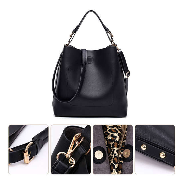 High Quality Leather Women Bag Bucket Shoulder Bags Solid Big Women Handbag Set Large Capacity Tote Bolsas Feminina Famous Brand