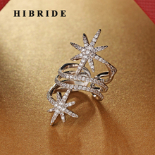 HIBRIDE Fashion Big Brand CZ Pave Adjustable Rings For Women Jewelry White Gold Color Finger Ring Anillos Mujer Party Ring R-218 hibride beauty leaf shape clear cubic zirconia white gold color women open adjustable finger ring anillos for party show r 197
