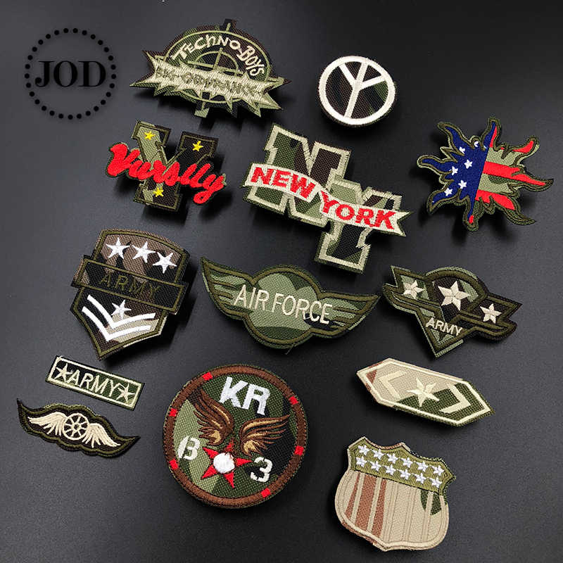 JOD* Embroidery Army Patch Clothes Military Iron on Patches for Clothing DIY Stickers Tactical Fabric Badges Camouflage Style