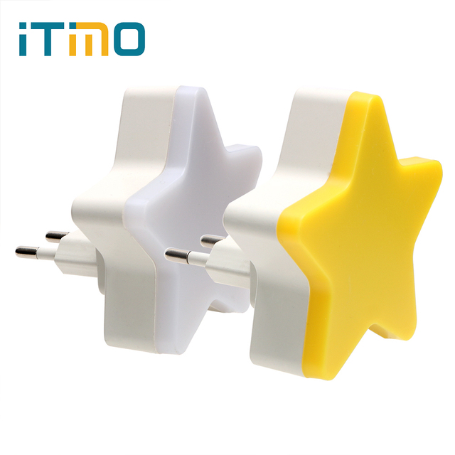 ITimo Childrens Room Decoration Light Control EU/US Plug Star Night Light Socket Lamp Plug in Wall Lamp Home Lighting