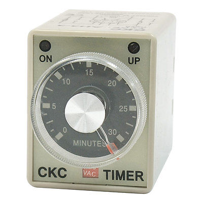 DC 24V 8 Pin DPDT 2NO 2NC 0-30 Minutes Time Delay Relay Timer AH3-3 5 pieces h3y 2 power on time delay relay solid state timer max 30m 220vac dpdt