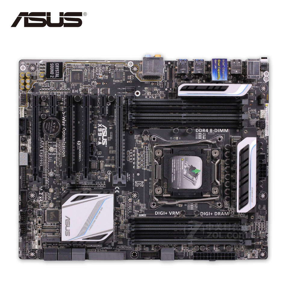 Asus X99-A Desktop Motherboard X99 Socket LGA 2011-V3 DDR4 64G SATA3 USB3.0 ATX Second-hand High Quality new 2016metal stainless steel watch band strap for garmin forerunner 220 230 235 630 620 735 high quality 0428