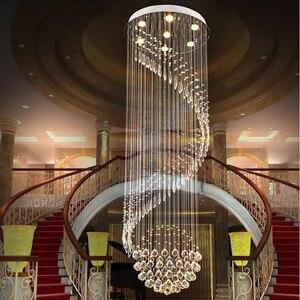 Image 3 - Modern Crystal Chandelier For Spiral Design LED Luxury Crystal Lamp Hanging Interior Ladder Corridor Lamp