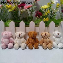 10PCS 6cm Plush bear doll pendant long hair joint hands and feet  active DIY creative handmade jewelry materials