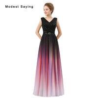Modest Ombre Purple A Line V Neck Pleat Girls Evening Dresses 2017 Formal Women Long Sequined