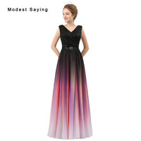 Modest Ombre Purple A Line V Neck Pleat Girls Evening Dresses 2017 Formal Women Long Sequined Party Prom Gowns vestido de festa