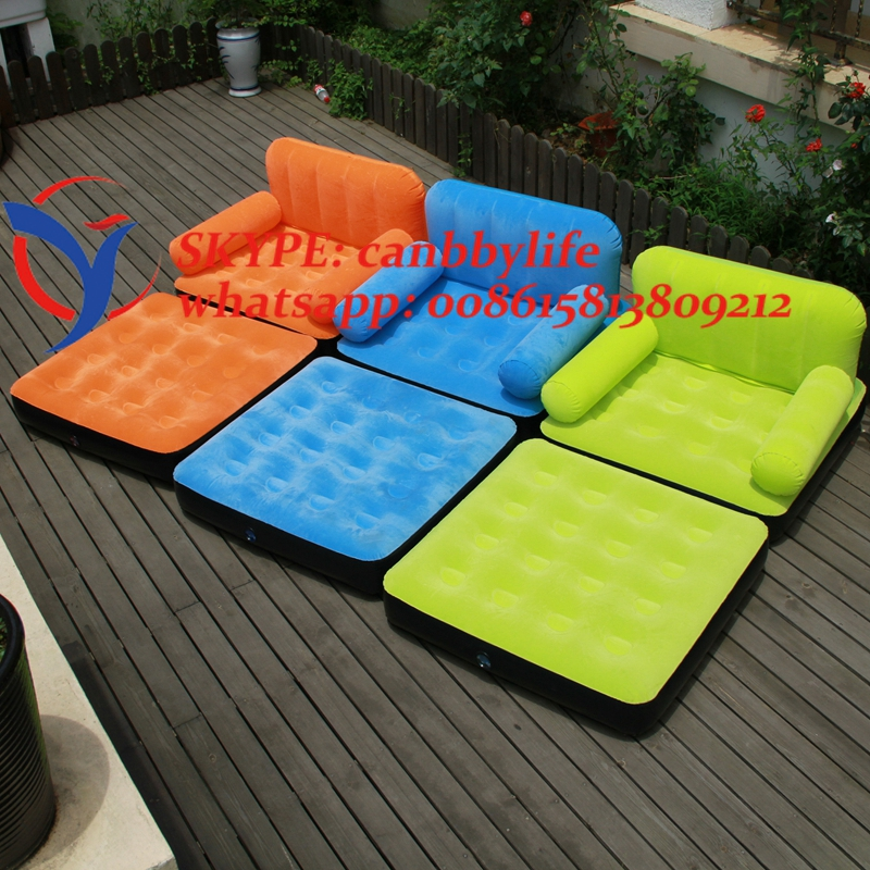 Living Room Air Furniture Bestway 2 In 1 Flocked Inflatable Single Air Sofa  Couch