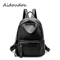 New Travel Laptop Backpack 2018 Korean Women Backpack Leisure Student Schoolbag Soft Genuine Leather Women Black
