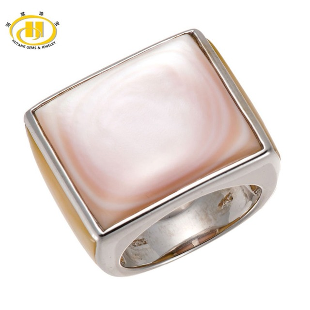 87fb16d3b47a27 Hutang Pink & Yellow Mother of Pearl Solid 925 Sterling Silver Fine Ring  for Men's Women