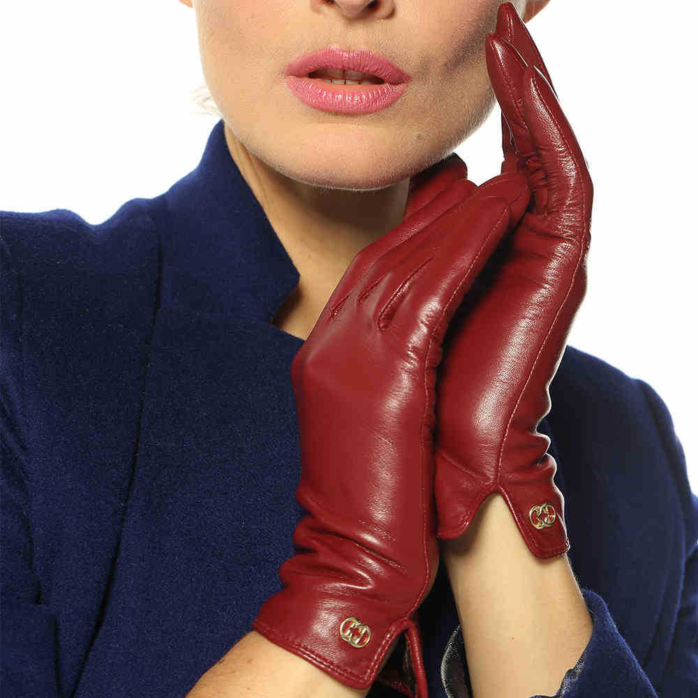 Ladies leather gloves xs - Top Fashion 2017 Women Glove With Velvet Short Genuine Leather Gloves Winter Goatskin Thermal Free Shipping