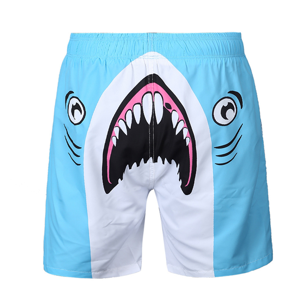 2019 New Fashion Men's Summer Casual Plus Size Funny Sharks 3D Printed Beach Shorts Printed Beach Shorts  Party  C0322