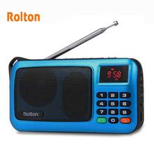 Rolton W405 راديو FM المحمولة مكبر صوت صغير مشغل موسيقى TF بطاقة USB لأجهزة الكمبيوتر آي بود الهاتف مع شاشة LED وعمود مصباح يدوي