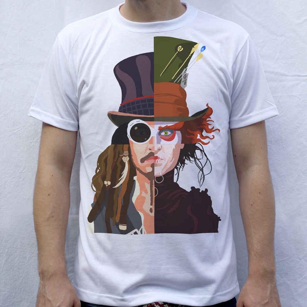 Johnny Depp T-Shirt, Willy Wonka, Mad Hatter, Jack Sparrow, Edward Scissorhands Fashion Style Men Tee,100% Cotton Classic tee
