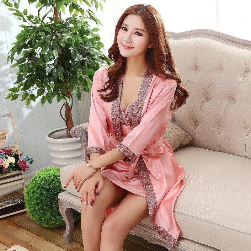 Sexy Print Women Robe Set 2 PCS Satin Rayon Bathrobe Women Kimono Nightgown Casual Sleepwear Nightwear Bridesmaid Robes Gown