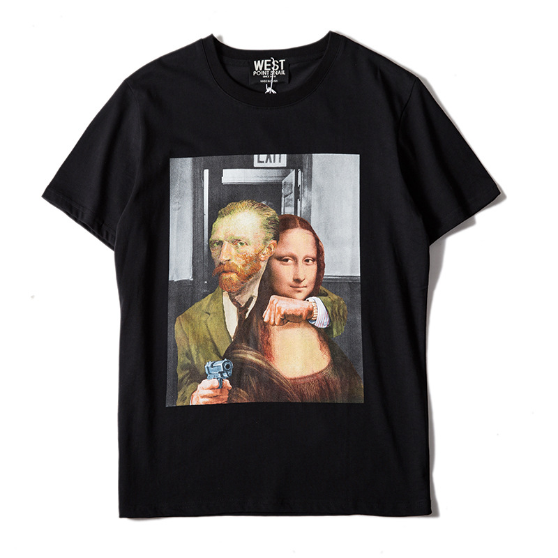 New Novelty Punk 2018 Men Gunner Mona Lisa T Shirts T-Shirt Hip Hop Skateboard Street Cotton T-Shirts Tee Top kenye #F60
