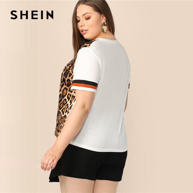 SHEIN Plus Size Cut And Sew Striped Leopard Top Women 2019 Summer Colorblock Casual Round Neck Tee Highstreet Weekend T-shirt 1
