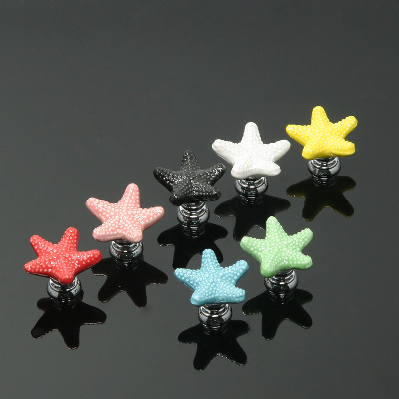 Furniture Handles Starfish Cabinet Knobs and Handles Ceramic Door Knob Cupboard Drawer Kitchen Pull Handle Home Decoration+Screw pastoralism pumpkin ceramic knob kitchen ceramic door cabinets cupboard knob and handles 1pcs