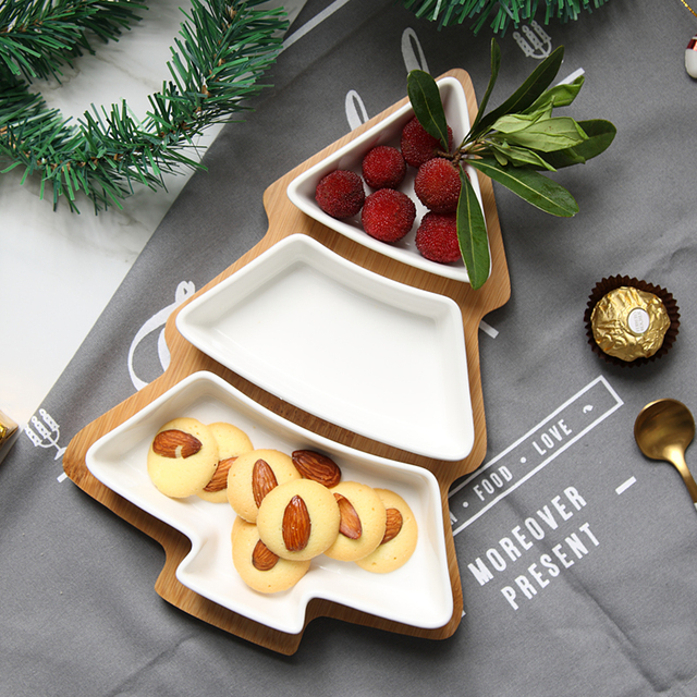 Us 22 89 41 Off Nordic Creative Bamboo Christmas Tree Fruit Plate Household Tableware Tray Ceramic Dessert Plate Fruit Salad Plate Snack Plate In