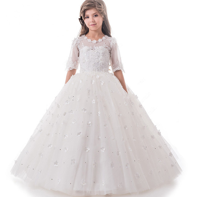 0d0509a52225 Gorgeous 2018 White Flower girl Dresses Ball gown 3D Flowers ...