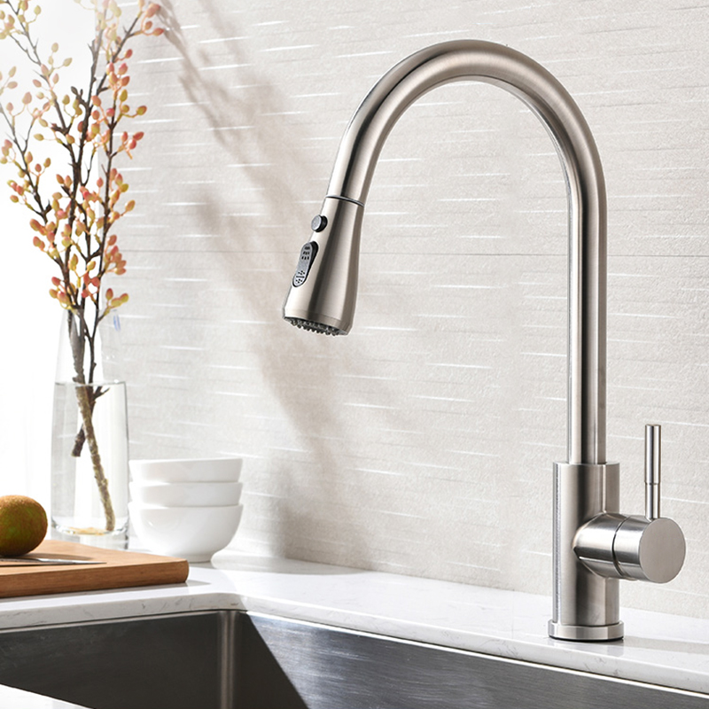 US $55.29 40% OFF|Brushed Nickel Kitchen Sink Faucet Sprayer Stream Spout  Pull Down Swivel Kitchen Mixers Deck Mount Hot and Cold Water Tap-in  Kitchen ...