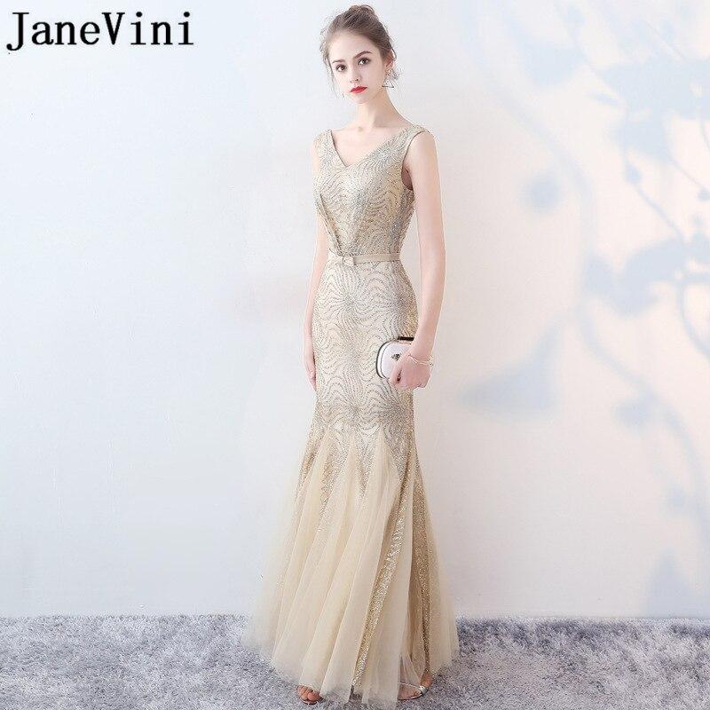 JaneVini Vestidos Sparkle Mermaid Mother Of The Bride Dresses Tulle V Neck Zipper Back Floor Length Elegant Formal Evening Gowns
