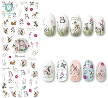 лучшая цена Rocooart DS440-449 New Autumn Cute Deer Flowers JESUS Banana Nails Art Sticker Harajuku Nail Wrap Sticker Tips Manicura stickers