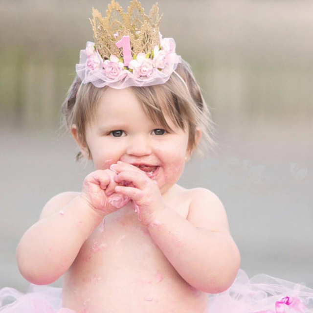 c551ef69310 Newborn Baby First Birthday Crown Headband Flower Lace Gold Tiara Headbands  Infant Toddler Party Hair Band Accessories
