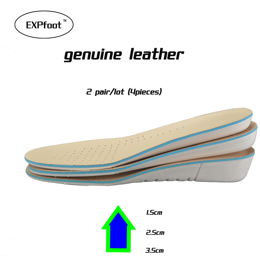 2 Pairs High Quality Genuine Leather Pigskin Odorless Cushion Height Increase Elevator Shoes Insoles Taller Heel Lifts 3cm chamaripa increase height 9cm 3 54 inch taller elevator shoes mens height increasing boots desert boot