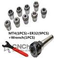 ER32 Пружинные зажимы 9 шт и MT4 (m16) ER32 + 1 шт ER32 ключ 1 шт Цанга Морзе держатель конус для фрезерный станок инструмент