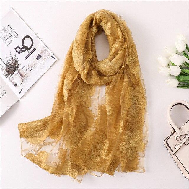 2522e6bc0712 2019 qualité supérieure écharpe pour femme mode floral foulards de soie  pour châles pour femme bandana pashmina femme foulard plage étoles hijabs