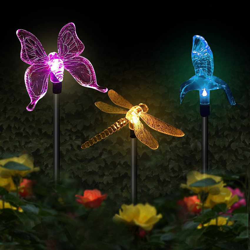 Solar Garden Lights Multi-Color Changing Bird Butterfly Dragonfly Solar Powered Pathway Lights Outdoor Landscape Path Lawn Lamp
